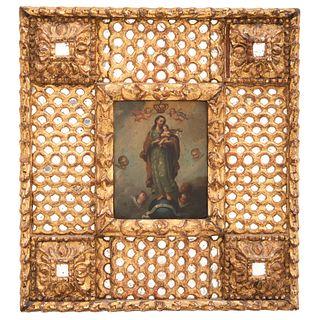 """SAN JOSÉ CON EL NIÑO (REFUGIUM AGONIZANTUM) MEXICO, 18TH CENTURY Oil on copper sheet 8.6 x 6.8"""" (22 x 17.5 cm)"""