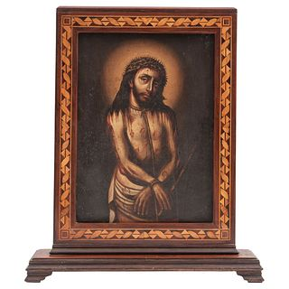 """ECCE HOMO , CENTURY XVIII Oil on sheet, double view Marquetry frame Conservation details 13.7 x 10"""" (35 x 25.5 cm)"""