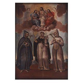 """SANTÍSIMA TRINIDAD CON SAN JACINTO DE CRACOVIA Y SANTOS FRANCISCANOS MEXICO, 18TH CENTURY Oil on canvas 60.2 x 41.3"""" (153 x 105 cm)"""