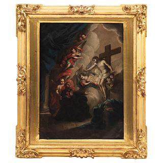 "TRÁNSITO DE SAN CAMILO DE LELIS MEXICO, 18TH CENTURY Oil on copper sheet Signed ""Joseph Mendosa fecit"" 19.2 x 13.7"" (49 x 35 cm)"