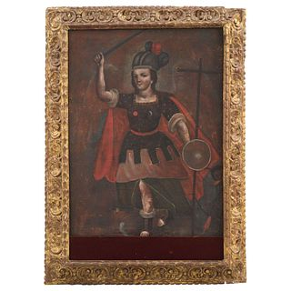 "SAN MIGUEL ARCÁNGEL, MEXICO, 19TH CENTURY, Oil on canvas, 41.7 x 27.5"" (106 x 70 cm"