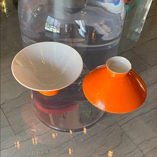 2 Vintage small bowls white & Orange Glazing