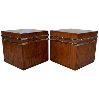 Pair of LRG Cube Tables/Cabinets by Theodore Alexander