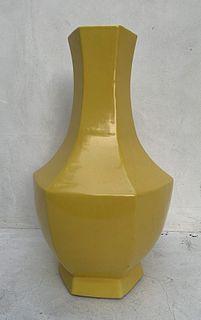 Large Hexagonal Ceramic Vase