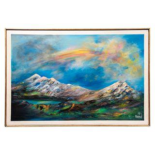 ESTRELLA NEWMAN Paisaje montañoso Firmado al frente Óleo sobre tela Enmarcado