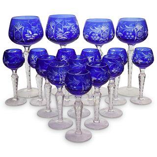 (16 Pc) Bohemian Crystal Stem Wine Glasses