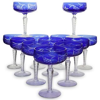(12 Pc) Bohemian Crystal Champagne Glasses
