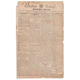 [SLAVERY & ABOLITION]. Enslaved blacksmith Gabriel Prosser's capture, trial, and sentence covered in 2 issues of the Columbian Centinel.  1800.