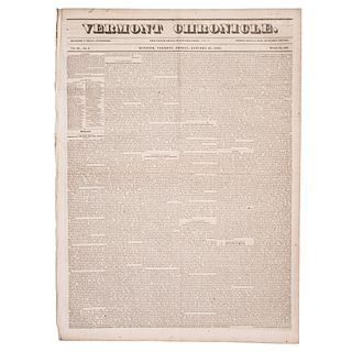 [SLAVERY & ABOLITION]. Descriptive essays on slavery published in 11 issues of The Vermont Chronicle. 1833-1844.