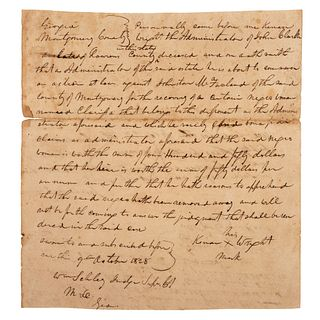[SLAVERY & ABOLITION]. Manuscript court document regarding an ownership dispute over enslaved woman named Clarissa. Montgomery County, GA, 9 October 1