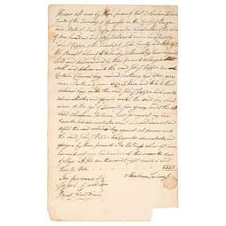 """[SLAVERY & ABOLITION]. Bill of sale for enslaved young man, """"Anthony,"""" New Jersey, 7 May 1832."""