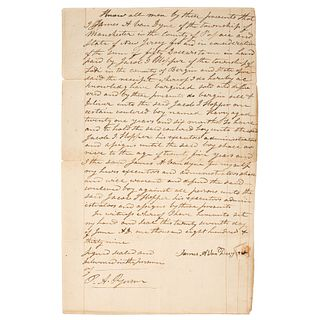 "[SLAVERY & ABOLITION]. Bill of sale for enslaved man, ""Harry,"" New Jersey, 27 June 1839."