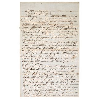 [SLAVERY & ABOLITION]. Letter regarding disputed ownership of 2 enslaved persons, Decatur County [Georgia], April 10, 1861.