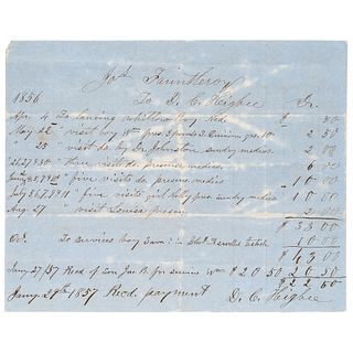 [SLAVERY & ABOLITION]. Handwritten medical bill for the treatment of enslaved persons, 1856.