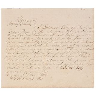 [SLAVERY & ABOLITION]. Merchants' affidavits swearing not to sell liquor to persons of color, Dooly County, GA, February 1852.