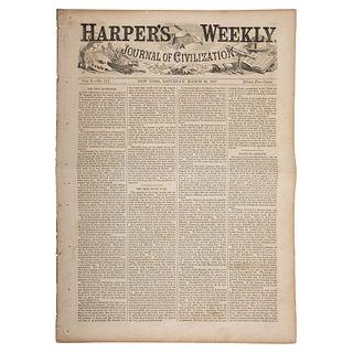 [SLAVERY & ABOLITION] -- [DRED SCOTT DECISION]. Harper's Weekly. Vol. I, No. 13. New York City, NY: 28 March 1857.