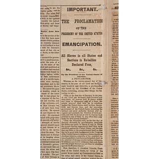 [SLAVERY & ABOLITION] -- [EMANCIPATION PROCLAMATION]. New York Herald. Whole No. 9607. New York: [James Gordon Bennett], 3 January 1863.