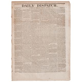 [SLAVERY & ABOLITION]. Thirteenth Amendment covered in 2 issues of the Richmond Daily Dispatch. Vol. XXVIII, Nos. 32-33. Richmond, VA: 7-8 February 18