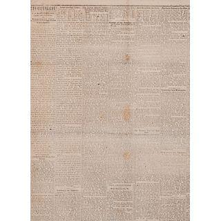 [SLAVERY & ABOLITION] -- [LINCOLN, Abraham (1809-1865)]. Monongahela Republican. Vol. 13, No. 5. Monongahela City, PA: 13 March 1862.