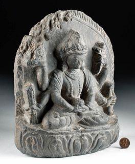 15th C. Nepalese Stone Stele Bodhisattva Manjushri