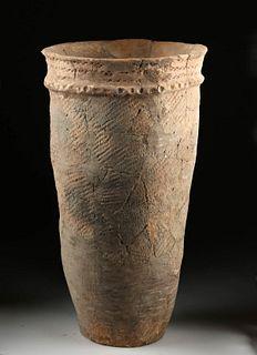 Tall Ancient Japanese Jomon Terracotta Urn TL'd