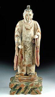 18th C. Japanese Edo Painted Wood Figure Shotoku Taishi