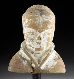 Chinese Han Dynasty Polychrome Male Bust