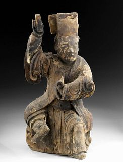 Chinese Qing Dynasty Gilded Wood Reliquary Figure