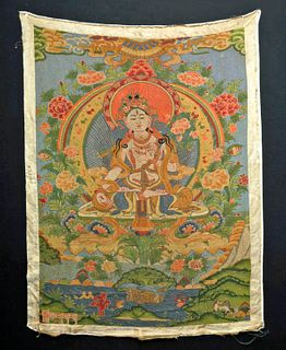 19th C. Tibetan Dazi Silk Thangka - Sititara