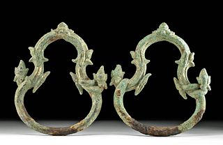 12th C. Khmer Angkor Gilt Bronze Palanquin Rings (pr)