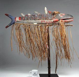 Signed 20th C. PNG Sepik River Painted Wood Fish Totem
