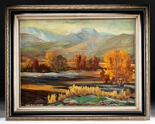 Signed 1950s Painting, High Country Autumn, Sam Harris