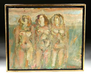 1980s Painting / Mixed Media Three Nudes, H. Frank