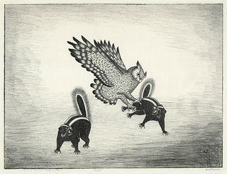 Alfonso Roybal [Awa Tsireh], Owl and Skunks