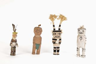 Four Ohkay Owingeh [San Juan] and Hopi Carved Figures