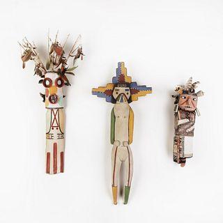 A Group of Three Hopi Kachinas, 20th Century