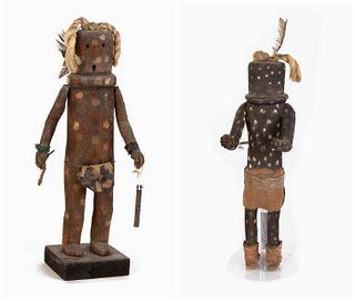 Two Zuni Kokosori 'Little Fire God' Kachinas, ca. 1950