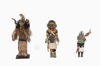 A Group of Three Zuni and Hopi Kachinas, 20th Century