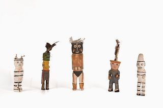 A Group of Five Ohkay Owingeh [San Juan] Carved Figures