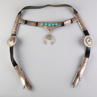 A Navajo Sterling Silver and Turquoise Horse Bridle, ca. 1970