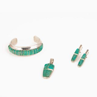 A Duane Maktima Cuff Bracelet, Pendant, and Earring Set