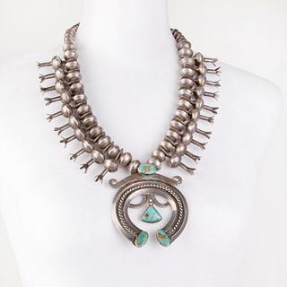 A Navajo Silver and Turquoise Squash Blossom Necklace, ca. 1930-1940