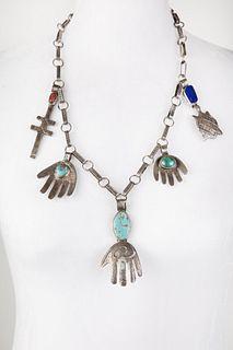 A Leo Coriz Tufa Cast Silver, Turquoise, Coral, and Lapis Lazuli Pendant Necklace