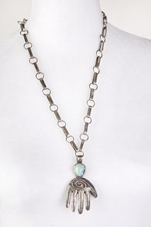 A Leo Coriz Tufa Cast Silver and Turquoise Pendant Necklace