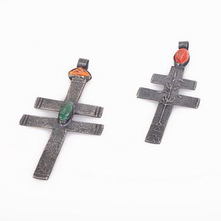 Two Leo Coriz Tufa Cast Silver Crosses with Stone and Shell Inlay