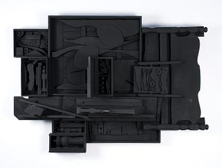 "Louise Nevelson, Am. 1899-1988, ""Moon Zag III"" 1984, Wooden Sculpture painted black"