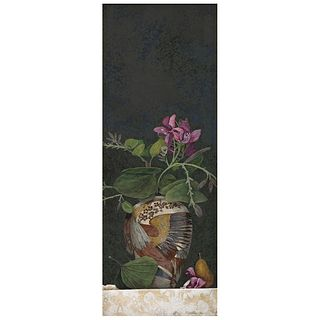 "ORIS ROBERTSON, Jarrón con orquídeas, Signed and dated 1986, Acrylic on canvas, 41.3 x 15.7"" (105 x 40 cm), Certificate"