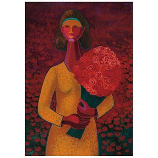 """JOSÉ JULIO GAONA, La flor más bella del ejido, Signed, Oil on canvas, 39.3 x 27.5"""" (100 x 70 cm)"""