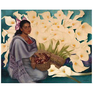 """ENRIQUE D'AOUST, Dama con flores, Signed, Oil on canvas, 41.3 x 51.1"""" (105 x 130 cm)"""