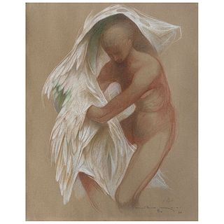 """GUILLERMO MEZA, Imagen mitológica, Signed and dated 84, Pastels on paper, 17.5 x 13.7"""" (44.5 x 35 cm), Certificate"""